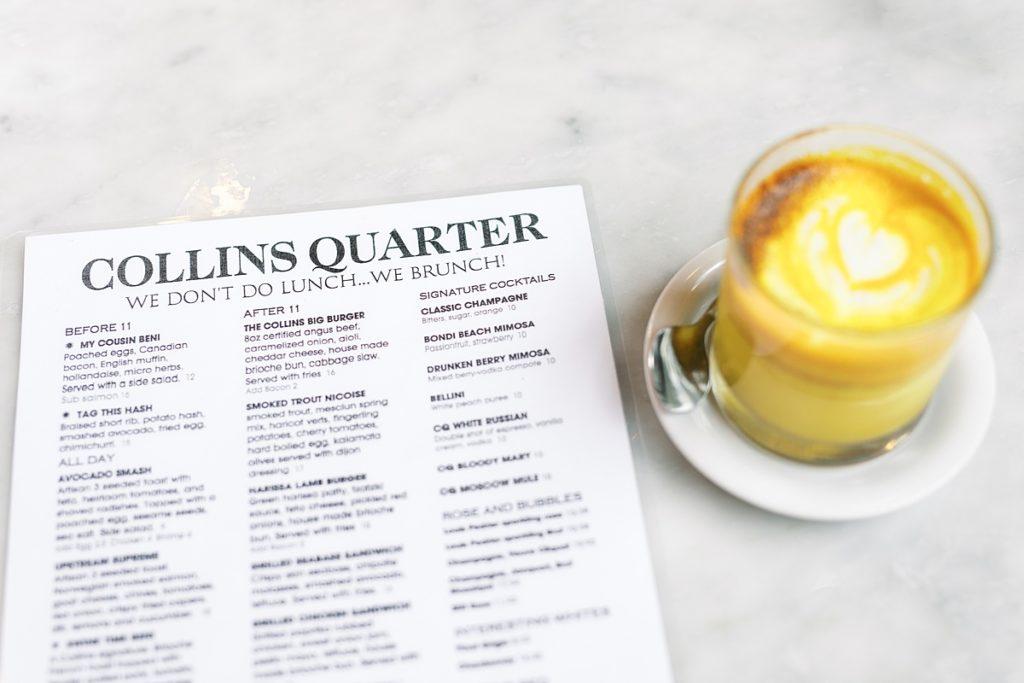 Coffee and menu at Collins Quarter in Savannah