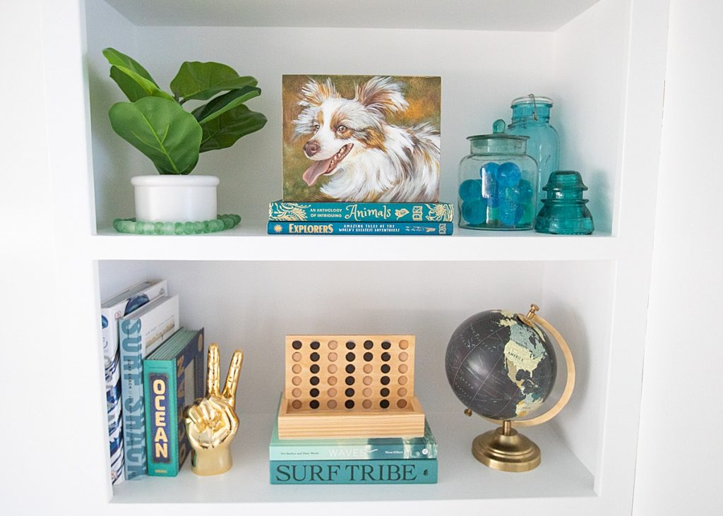 Surf-themed styled bookshelf