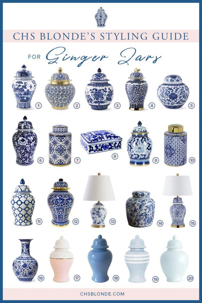 Ginger jars for styling bookshelves graphic