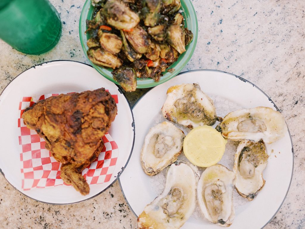 Fried chicken, oysters, and Brussel sprouts from Leon's in Charleston