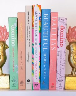 Styling books on shelf with bookends