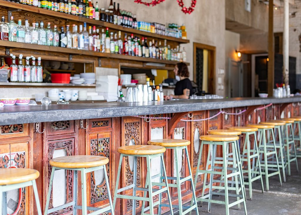 Bar seating at Xiao Bao Biscuit in Charleston