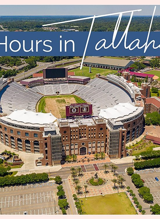 "Overhead picture of the Florida State University Stadium in Tallahassee with text reading ""48 Hours in Tallahassee"""