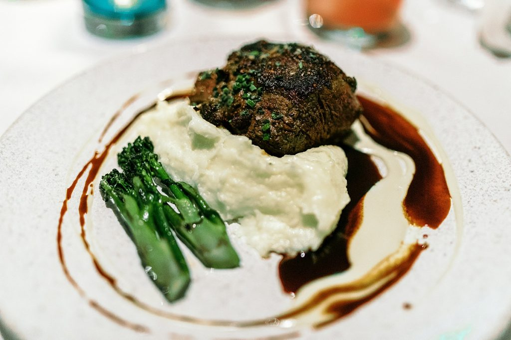 Beef tenderloin with mashed potatoes and broccolini at Hearth '61, a Phoenix restaurant