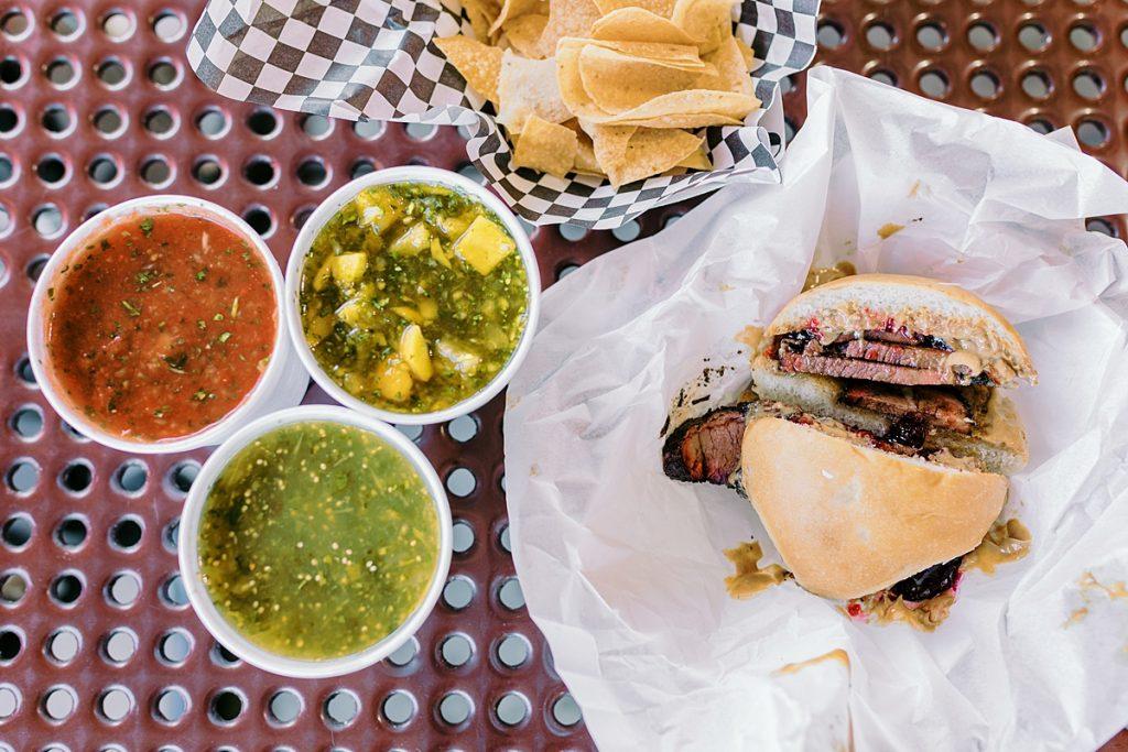 Brisket sandwich and salsas at Jalapeno Bucks in Phoenix, Arizona