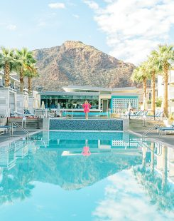 Luxury pool at Mountain Shadows with Camelback Mountain in the background
