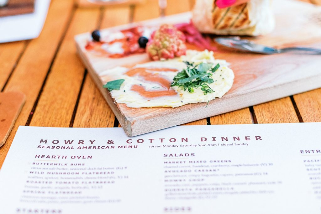 Mowry and Cotton dinner menu and bread board